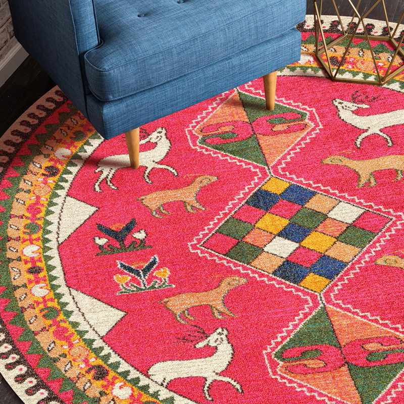 Large size Round area rug Chinese style colorful print flowers shapes for living room by table carpet leafs red abstraction rug