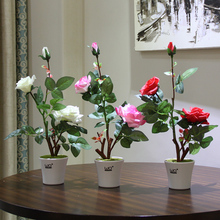 1pc Emulate Rose Bonsai Simulation Decorative Artificial Flowers Fake Green Pot Plants Ornaments Home Decor home decorative high simulation ombre artificial flowers