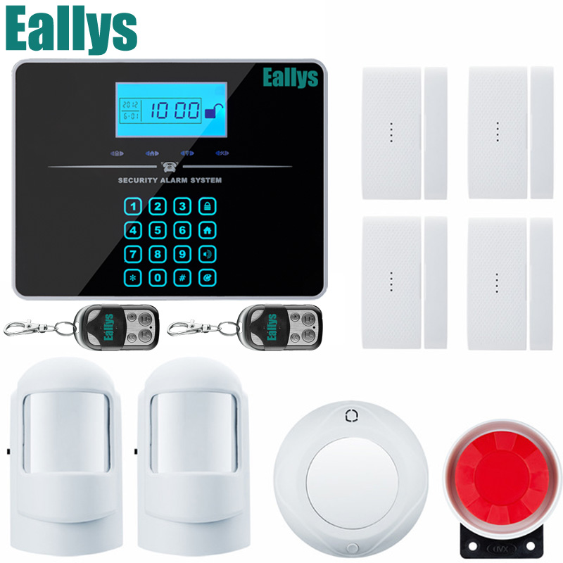 Metal Remote Control Voice Prompt Wireless door sensor Home Security GSM Alarm systems LCD Display Wired Siren Kit SIM SMS Alarm daytech gsm sms alarm kits home security system professional siren wireless gsm remote control intelligent two way intercom
