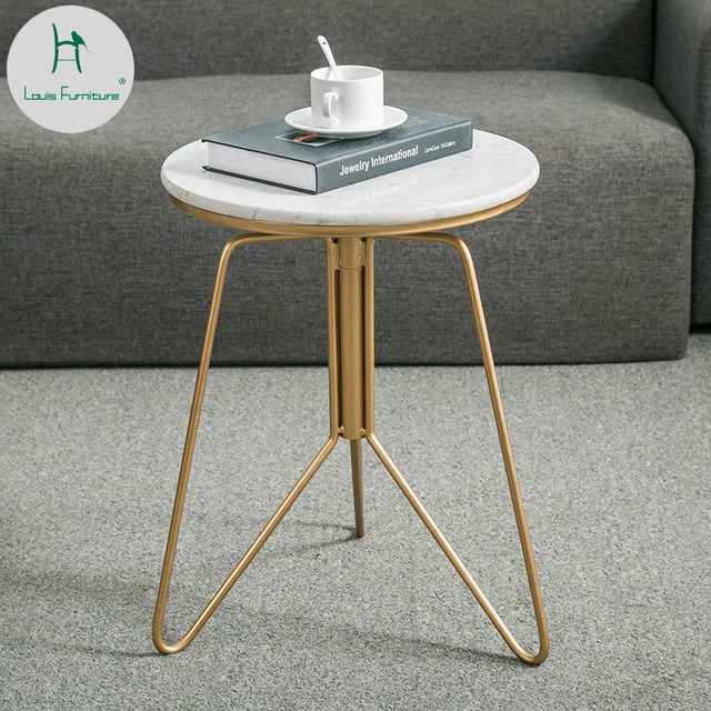 Louis Fashion Nordic Simple Iron Art Marble Tea Table Golden Side Several Living Room Sofa Corner