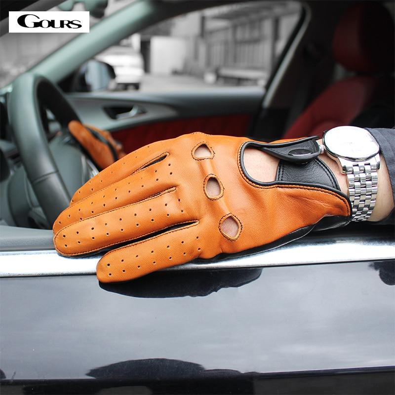 Gours Spring Men's Genuine Leather Gloves High Quality Fashion Black Driving Unlined Goatskin Finger Gloves New Arrival GSM047