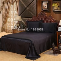 Custom made Black only Bed sheet Solid Satin Queen/King Size Home Bedclothes Bed Linen Bed Sheet Cover No Pillowcas