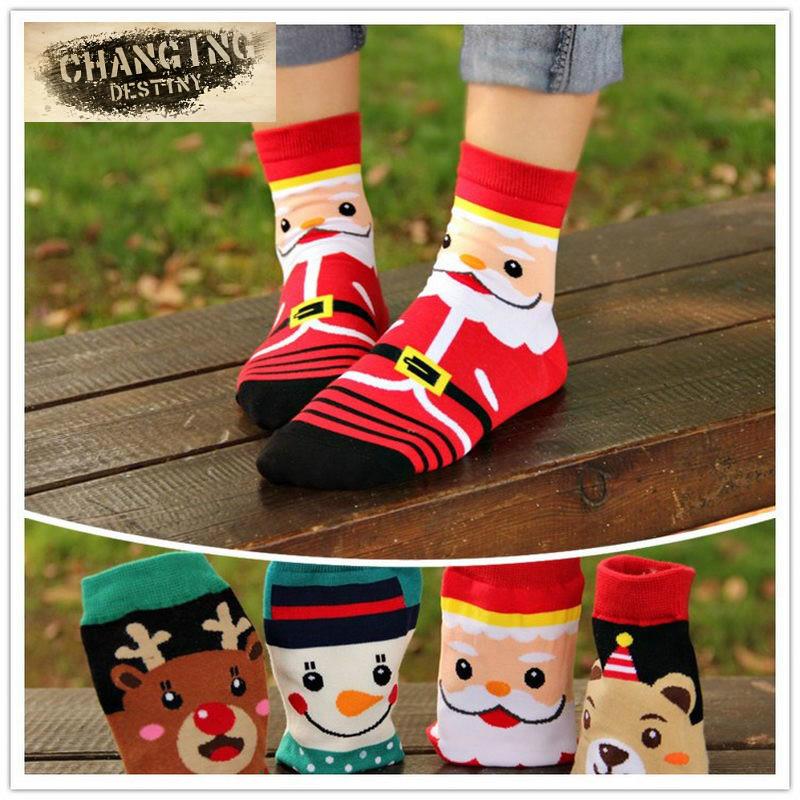 invierno de las mujeres calcetines de navidad regalo caliente suave de algodn calcetn corto de santa
