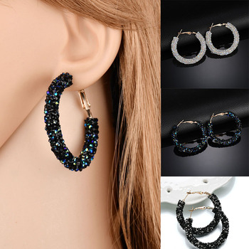 New Fashion Bling Hoop Earrings For Women Shiny Crystal Hollow Round Circle Ear Jewelry