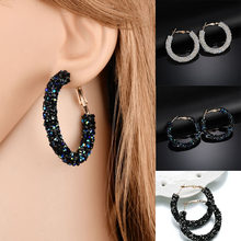 2018 New Fashion Bling Bling Hoop Earrings For Women Shiny Crystal Hollow Round Circle Ear Jewelry Gift For Wedding Brincos(China)