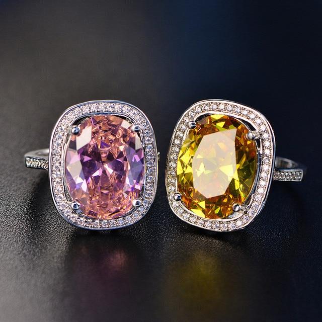 Vintage di Lusso Anelli Per Le Donne S925 Sterling Silver Jewelry Temperamento Ovale Topazio Pietra Lovers Wedding Ring Anelli Mujer