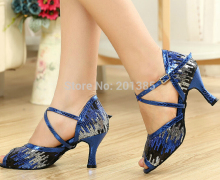 Women Blue Glitter  LATIN Dancing Shoes SALSA Dance Shoes Tango Shoes Samba Dancing Shoes