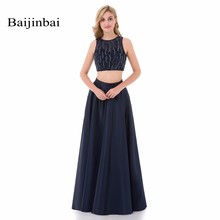 Baijinbai Robe De Soiree Luxury Blue Evening Dresses 2017 New Arrival 2 Pieces A Line Puffy Beaded Long Prom Party Dresses 765