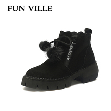FUN VILLE 2017 New Fashion winter Women Ankle snow Boots Pig suede Light Comfortable Flat Martin boots Round Toe Casual shoes
