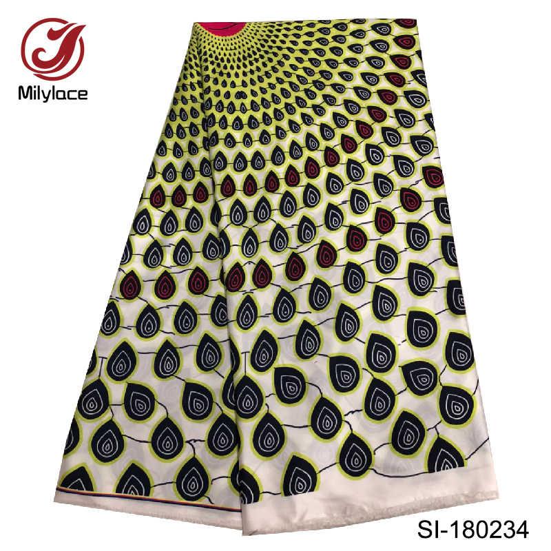 Новейшая африканская Цифровая печатная восковая Шелковая Ткань 5 ярдов за лот Горячая продажа нигерийская шелковая ткань для платья SI180237