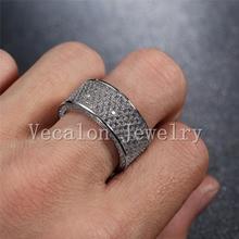 Vecalon Full 320Pcs AAAAA Zircon Cz Wedding Band Ring for Women 10KT White Gold Filled Female Engagement Band Sz 5-11