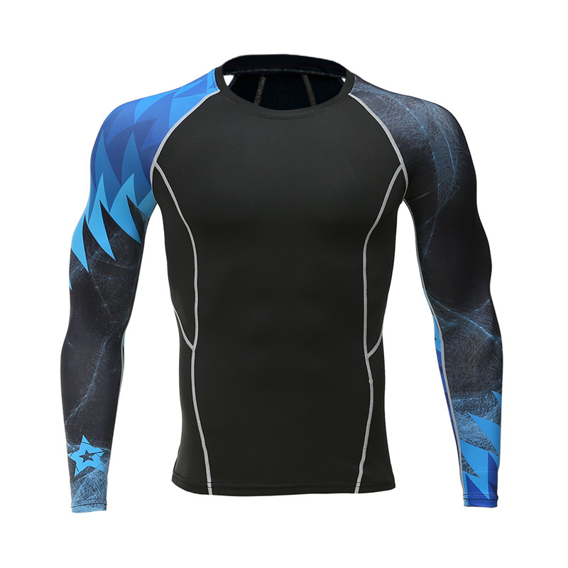 2017 नए मैन ग्रे टी-शर्ट जिम चड्डी फिटनेस के माध्यम से स्पीड बेचने से फिटनेस जल्दी सूख जाती है, यह लंबी आस्तीन वाली टी-शर्ट संपीड़ित शायर में शामिल होती है