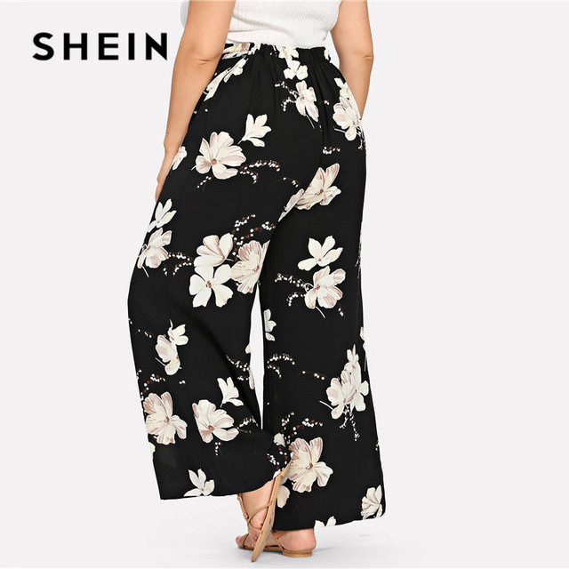 SHEIN Plus Size Black Belted Floral Print Wide Leg Pants 2019 Women Spring Summer Boho Knot Long Loose Trousers With Sashes 2
