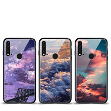 Tempered Glass Phone Case For Huawei Nova 5i P20 Lite 2019 Luxury Cloud Sea Back Cover(China)