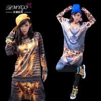 2014 New Fashion Costume Halloween Leopard Mummy Pharaoh Clown Women Clothing Set Adult Wear Hip Hop