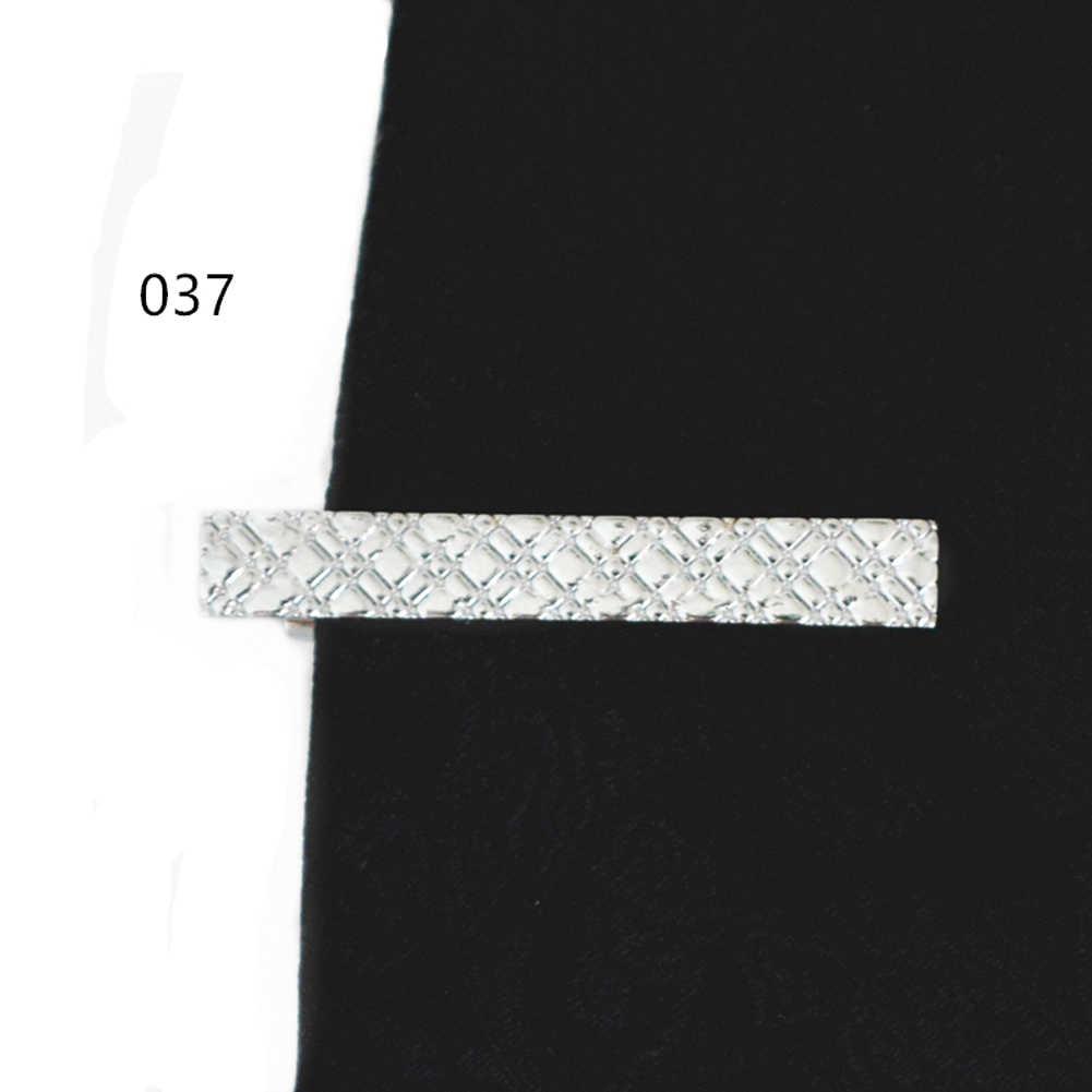ยาว 4 ซม.10 ชุดขายปลีกสั้นโลหะเนคไท Tie Bar บุรุษ Chrome CLAMP PLAIN Skinny Tie คลิป pins บาร์