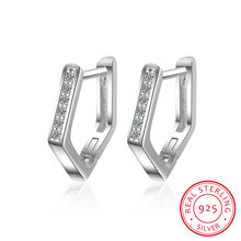 Серьги клипсы женские из серебра 925 пробы с геометрическим
