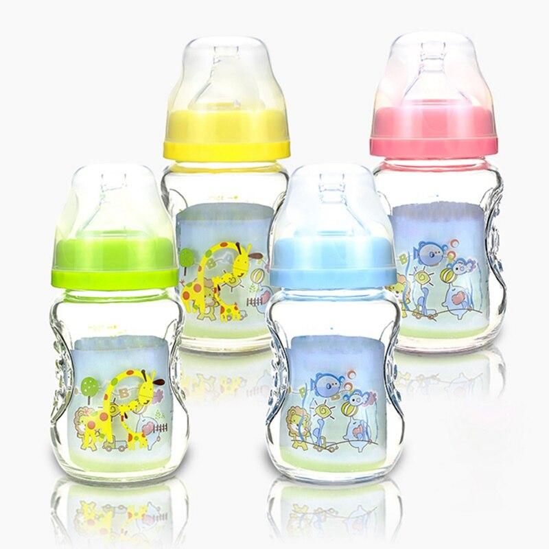 Flaschenzuführung 150 Ml Baby Cartoon Glas Milch Breiten Mund Flasche Saft Flasche Baby Trinken Baby Milch Flasche Bpa Frei