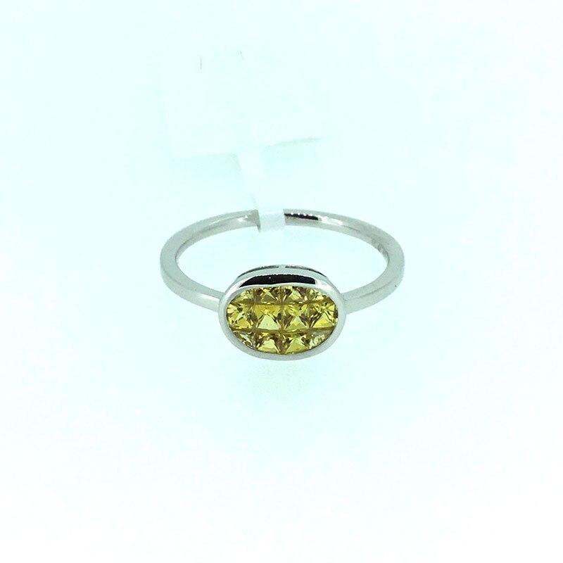 ANI 18K White Gold AU750 Women Wedding font b Ring b font 10mm Oval Natural Yellow