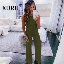 XURU summer new best women's jumpsuit loose casual with pocket jumpsuit solid color trumpet jumpsuit