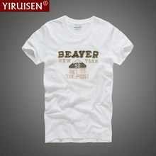 YiRuiSen Male Brand T-shirt 2017 Summer Casual White Men Short Sleeve Cotton T Shirt