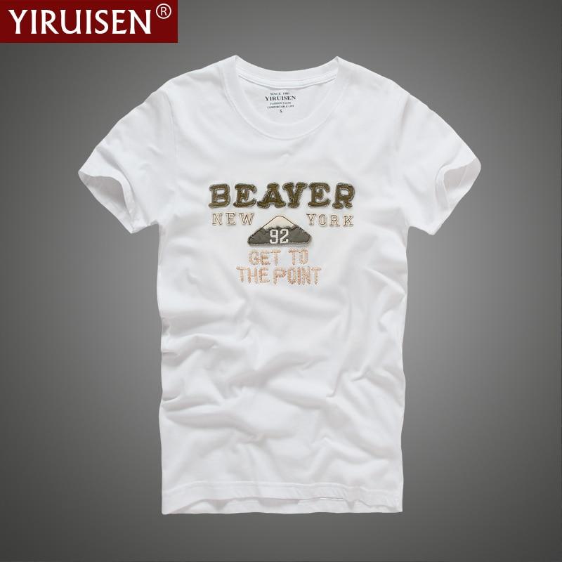 Yirosen ذكر ماركة t-shirt 2017 الصيف عارضة الرجال البيض قصيرة الأكمام القطن تي شيرت