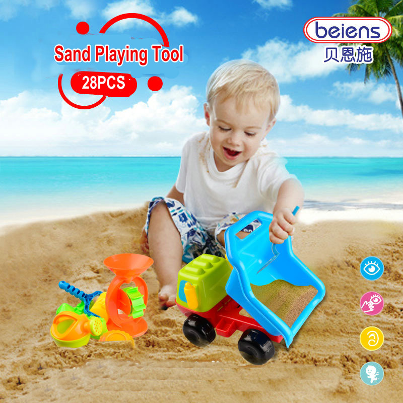 ФОТО 28PCS/set High Quality PP Plastic Baby Sand Playing Tool Kids Bath Toy Dump Car Funnel for 3+Children Summer Outdoor Toys Gifts