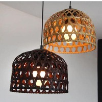 Handmade Weaving Pendant lamp Wood Pendant Light Lantern Suspension For hotel engineering Hanging e27 Pendant lighting G027