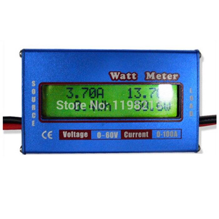 Digital medidor de vatios de Monitor de equilibrio de batería de voltaje Analizador de potencia DC60V 100A para DC helicóptero RC barco Heli Wattmeter