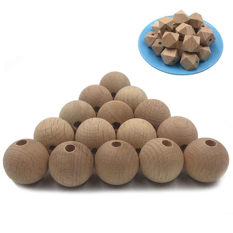 10pcs/bag Natural Color Wood Beads Round Octagonal Wooden Beads Diy Baby Molar Chain Bracelets DIY Jewelry Accessories