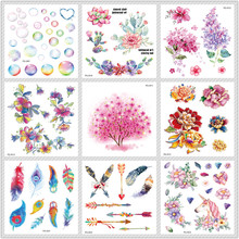 Rocooart Glitter Tattoo Klistremerker Flower Tree Flash Tattoo Fjær Boble Midlertidig Tattoo Sticker Body Art Falsk Taty Tatuagem