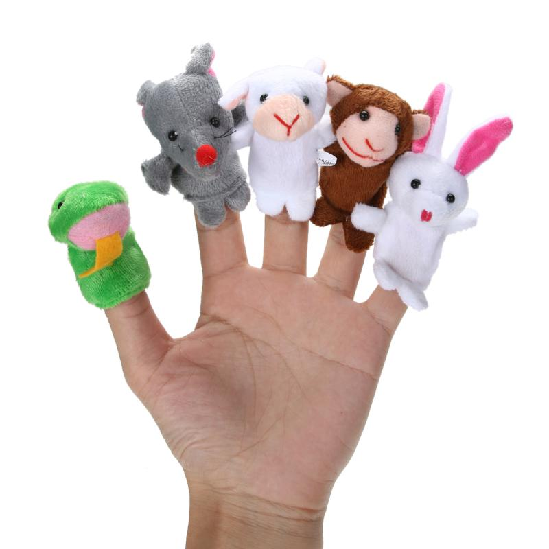 12pcs/Set Animals Finger Puppets Plush Toys Lovely Kids Baby Play Pretend Toys Best Birthday Xmas Gift for Child