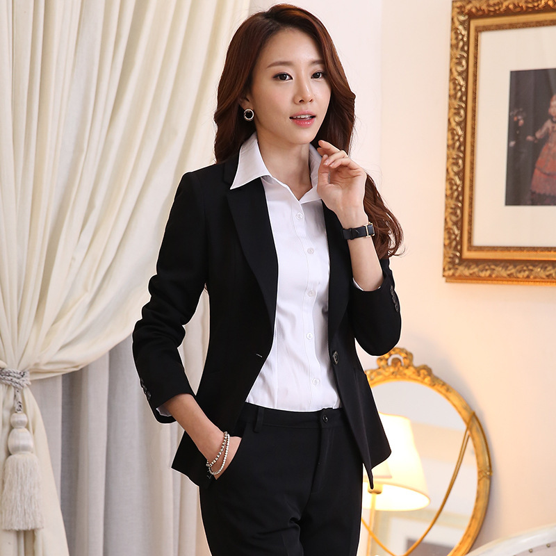Suits & Sets Two Piece Set Office Suit Women Autumn Double Breasted Dark Blue Long Jacket+long Pant Suits Businness Work Wear Suits Pant Suits