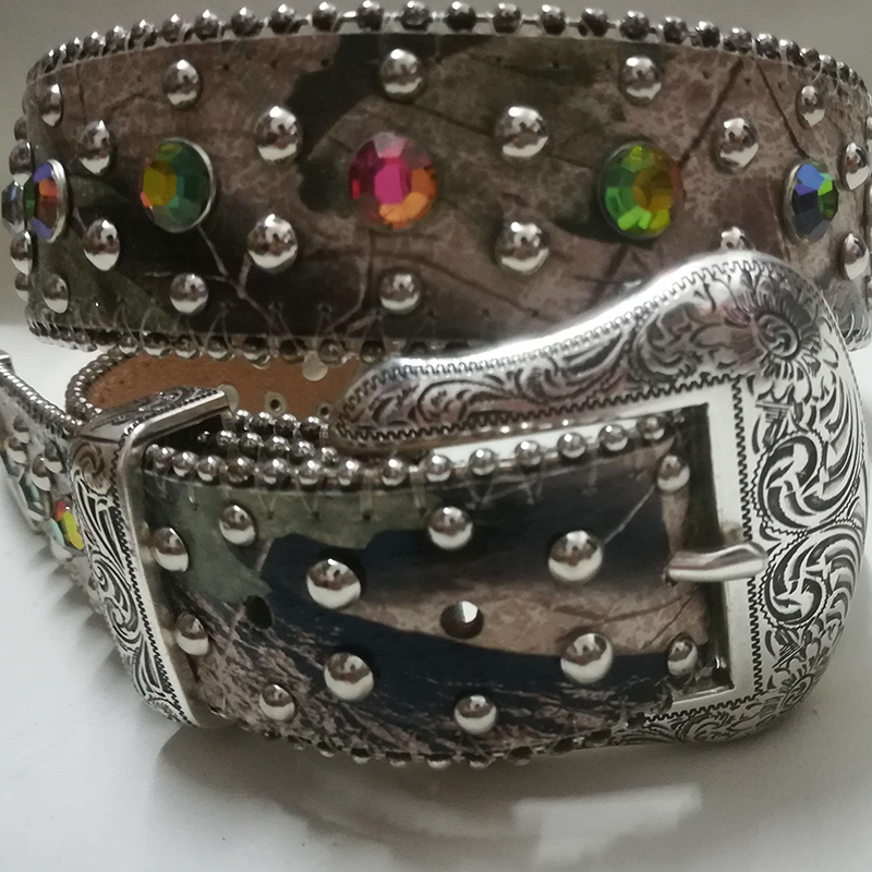 Western Leather Cowgirl Canvas Fabric AB Acrylic Crystal Camo Conchos Shinning Camouflage Camo New BELTS