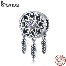 BAMOER Genuine 925 Sterling Silver Lindo Sonho Catcher SCC330 Titular Beads fit Colar Charm Bracelet Jóias DIY Natal(China)