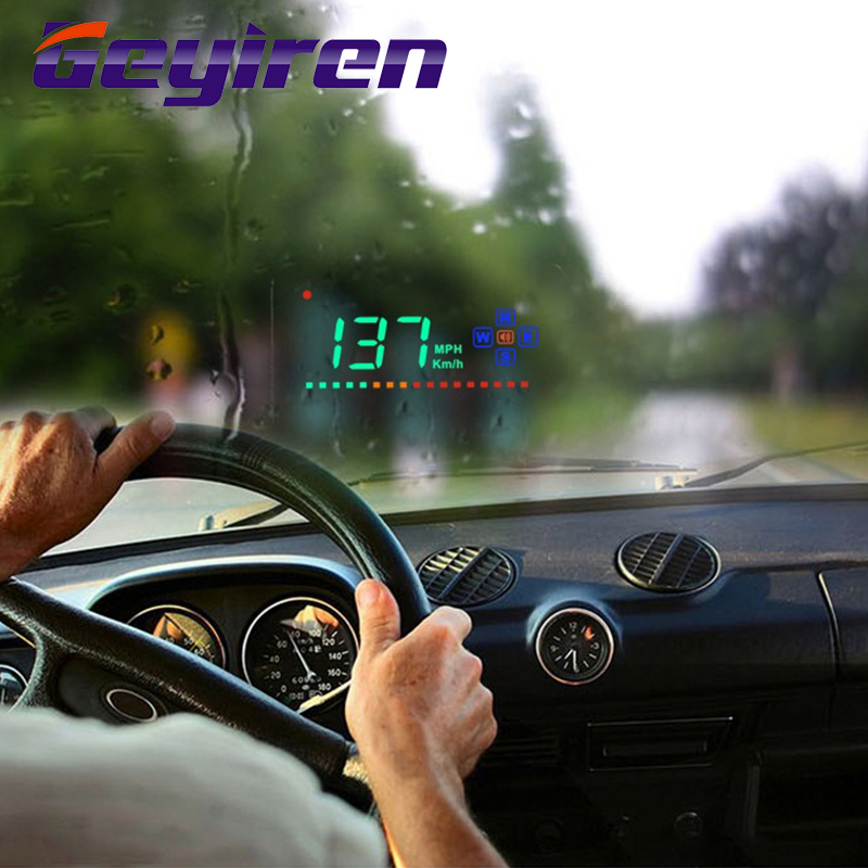 GEYIREN A2 Display Head Up Display Gps Digital Car Speedometer Auto Windshield Project Speedometer GPS Hud Head Up Display Cars