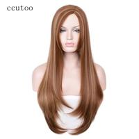 Ccutoo 28 inch Marrón Mezcla Rubia Peinado de Lado de Pelo Sintético Para Las Mujeres Del Partido de Halloween Pelucas Cosplay Fibra de la Resistencia Térmica