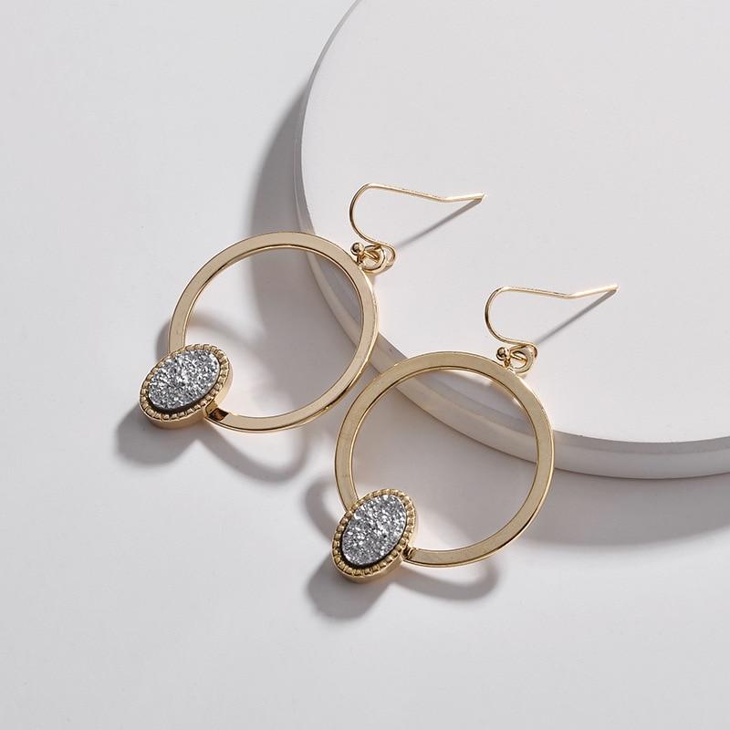 Faux Copper Circle Oval Druzy Quartz Drop Earrings 6