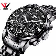 Lüks marka erkek saatler NIBOSI Chronograph erkekler spor siyah saatler su geçirmez tam çelik iş erkekler saat Relogio Masculino