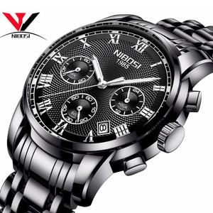 Image 1 - Luksusowe markowe zegarki męskie NIBOSI Chronograph mężczyźni sport czarne zegarki wodoodporny pełny stalowy biznes mężczyźni zegar Relogio Masculino
