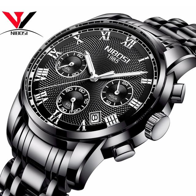 Luksusowe markowe zegarki męskie NIBOSI Chronograph mężczyźni sport czarne zegarki wodoodporny pełny stalowy biznes mężczyźni zegar Relogio Masculino