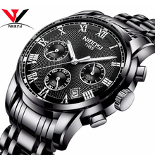 יוקרה מותג גברים שעונים NIBOSI הכרונוגרף גברים ספורט שחור שעונים עמיד למים מלא פלדת עסקי גברים שעון Relogio Masculino