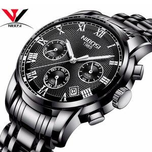Image 1 - Relojes de marca de lujo para hombres, cronógrafo NIBOSI, relojes deportivos negros para hombres, relojes de negocios de acero completo a prueba de agua para hombres, reloj Masculino