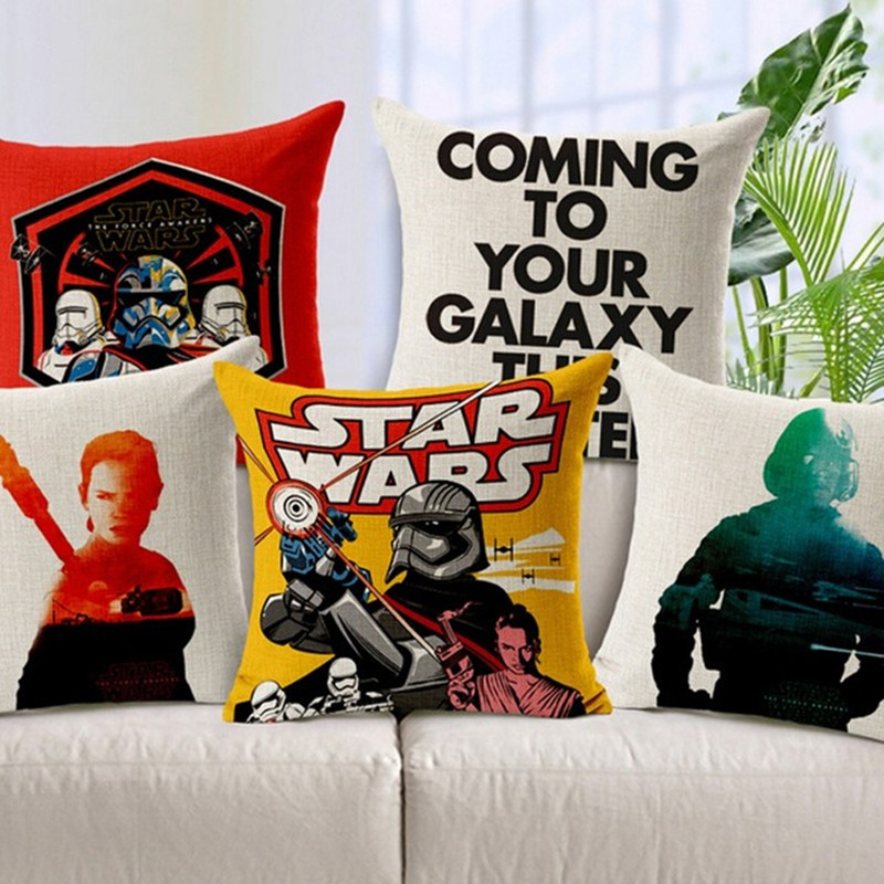 Cotton Linen Star Wars Black Knight Robot White Soldiers Pattern Decoration  Outdoor Car Sofa Seat Cushion Throw Pillows Cojines