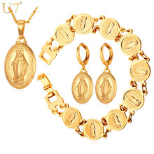 U7 New Virgin Mary Earrings Bracelet Necklace Set Wholesale Trendy Gold Color Christian Cross Women Jewelry Sets S681(China)