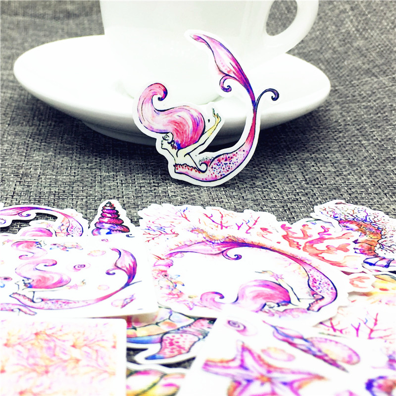 Image 2 - 20 Pcs/Lot Marine Life Mermaid Cute Self made stickers scrapbooking For Cartoon Sticker For Laptop Fridge Skateboard-in Stickers from Home & Garden