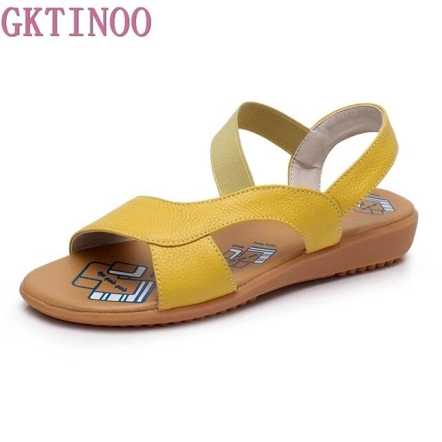 GKTINOO פרה אמיתי עור סנדלי נשים העקב שטוח סנדלי אופנה קיץ נעלי אישה סנדלי קיץ בתוספת גודל 34 43