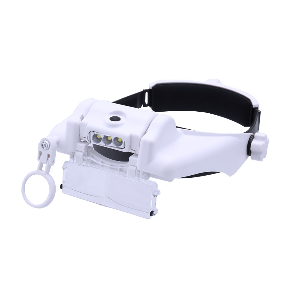 High Definition Wide-angle Lens Helmet Magnifier with 3LED Lights For Reading/Electronic Repair/Handicraft Mechanical Process ...