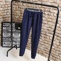 Bordado ocasional de Las Mujeres Pantalones Lápiz Pantalones Largos Más El Tamaño 3XL KK2248 Sueltos de Cintura Elástica Pantalones de Algodón de Abrigo Azul Negro