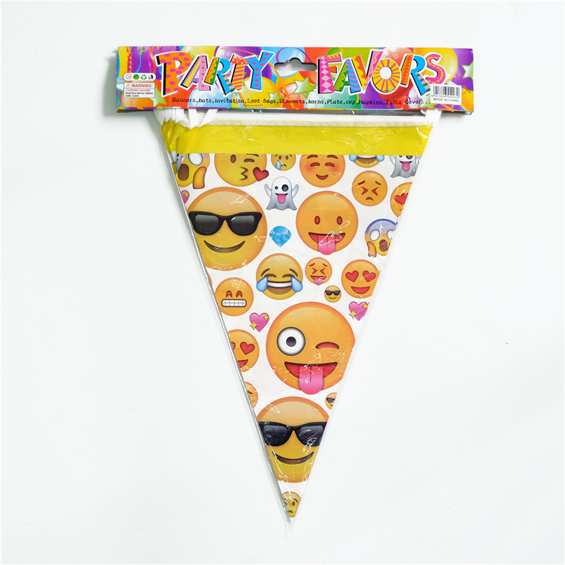 10pcs Lot Emoji Flags Banner Cartoon Theme Party Home Decorations For Kids Happy Birthday Baby Shower Family Supplies